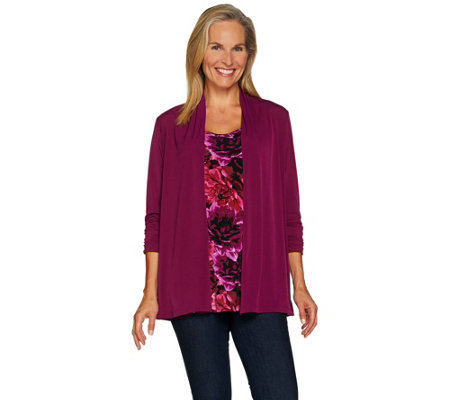 Susan Graver Liquid Knit Roll Tab Sleeve Cardigan & Tank Set
