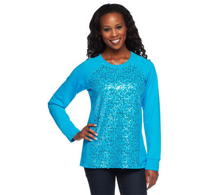 Quacker Factory Sparkle Sequin Sweatshirt Top