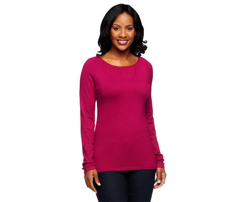 Linea by Louis Dell'Olio Whisper Knit Long Sleeve Scoopneck Top