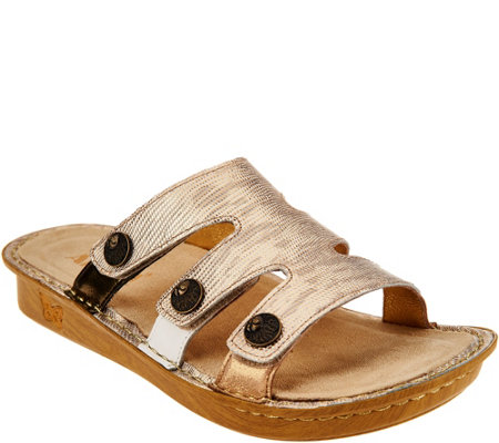 Alegria Leather Slip-on Sandals w/ Strap Detail - Venice