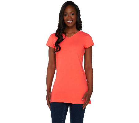 Women with Control Regular Long and Lean Reversible Neckline Top