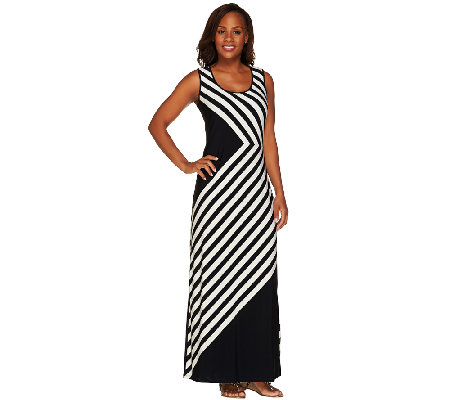 Linea by Louis Dell'Olio Regular Stripe Printed Maxi Dress