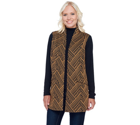 LOGO by Lori Goldstein Long Sleeve Jacquard Knit Cardigan