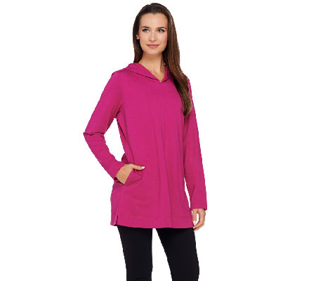 Denim & Co. Active Petite French Terry Tunic w/ Hood