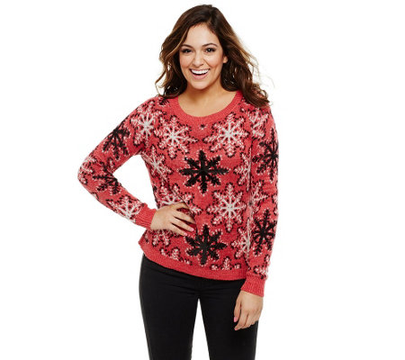Bethany Mota Knit Snowflake Sweater with Sequin Detail