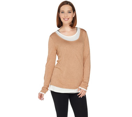 Kelly by Clinton Kelly Jersey Knit Faux Layered Tee