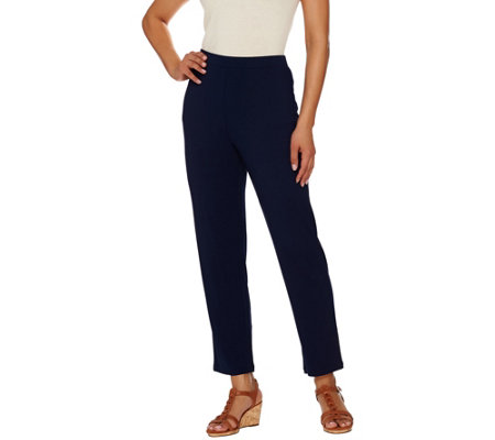 """As Is"" Susan Graver Dolce Knit Comfort Waist Pull-On Ankle Pants"