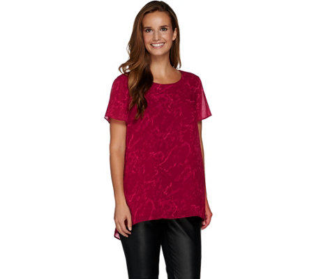 H by Halston Short Sleeve Printed Top with Hi-Low Hem