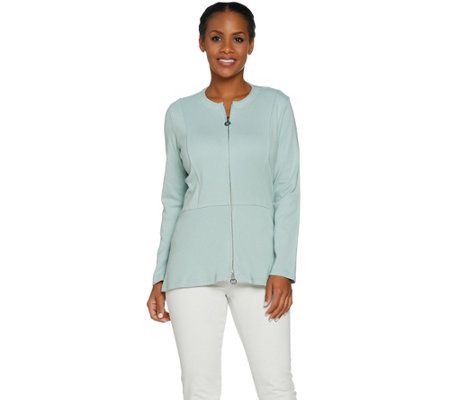 Linea by Louis Dell'Olio Zip Front Hi-Low Peplum Jacket