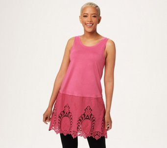 LOGO by Lori Goldstein Long Solid Tank w/ Embroidered Panel at Hem - A288010