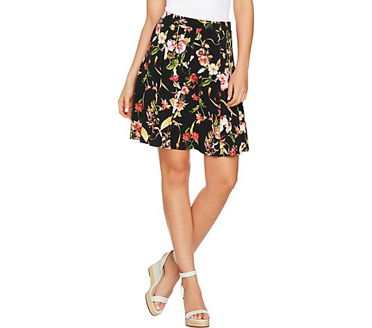 Susan Graver Printed Liquid Knit 8 Gore Pull-On Skort