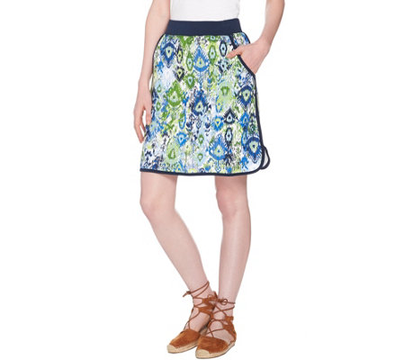 Denim & Co. Active French Terry Ikat Printed Pull-on Skort