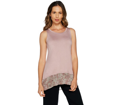 LOGO Layers by Lori Goldstein Knit Tank with Broomstick Chiffon Hem