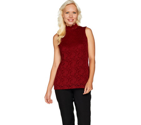Susan Graver Stretch Lace Mock Neck Sleeveless Top
