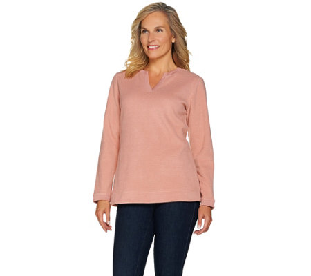 """As Is"" Denim & Co. Essentials Split V-Neck Chenille Fleece Long Sleeve Top"