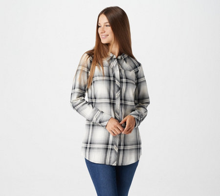 Denim Co Plaid Long Sleeve Button Front Collared Shirt