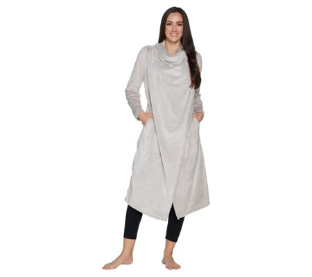 AnyBody Loungewear Frosted Fleece Cascade Front Maxi Cardi