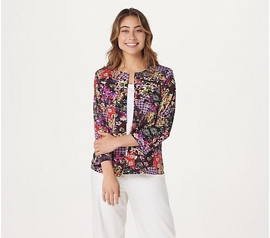 Joan Rivers Patchwork Print Jacket with 3/4 Sleeves