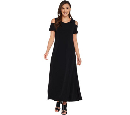 Kelly by Clinton Kelly Petite Cold Shoulder Knit Maxi Dress
