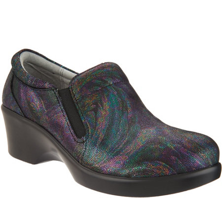 """As Is"" Alegria Leather Slip-on Shoes with Goring-Eryn"
