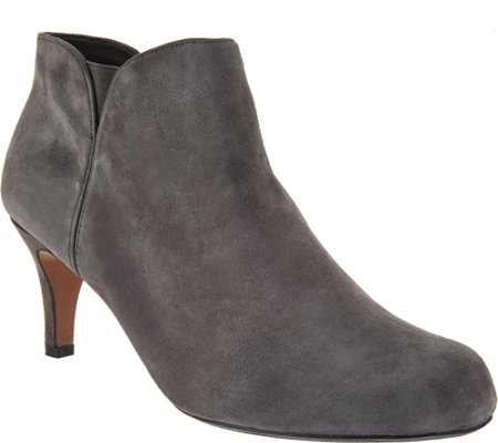 """As Is"" Clarks Leather or Suede Side Zip Ankle Booties- Arista Page"