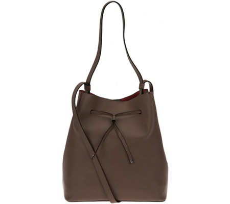 """As Is"" LODIS Italian Leather Large Drawstring Bag - Halina"