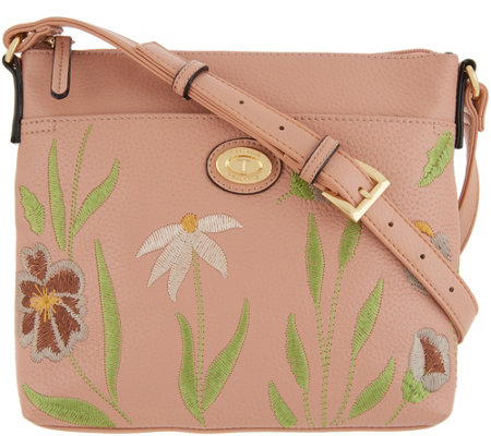 Tignanello Embroidered Leather Crossbody Bag - Madison
