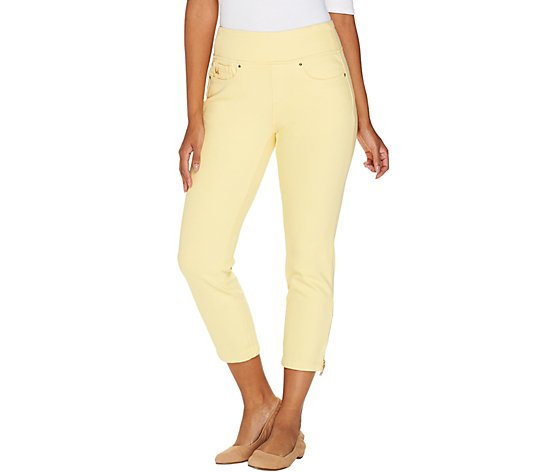 """As Is"" Belle by Kim Gravel Flexibelle Pull -On Cropped Jeans Regular"