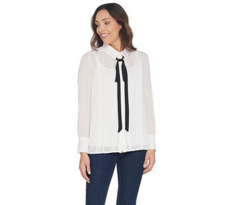 BROOKE SHIELDS Timeless Woven Blouse with Tie Detail