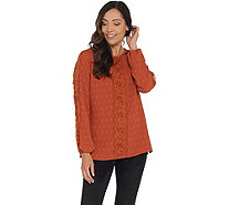 Isaac Mizrahi Live! Scoop- Neck Coupe Blouse with Lace Detail - A343210
