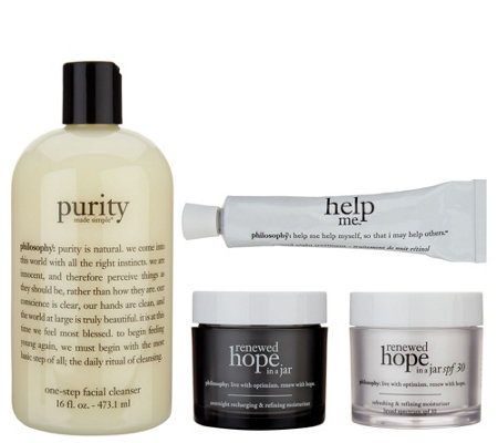 philosophy purity, renewed hope & help me complete am/pm skincare system