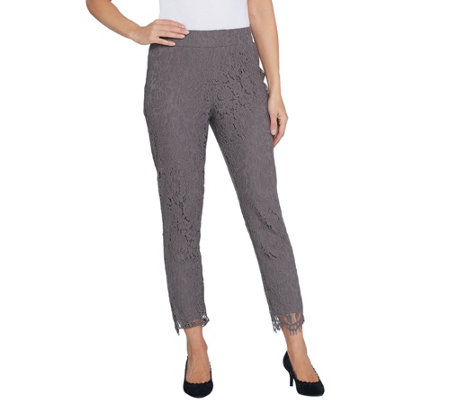 Isaac Mizrahi Live! Petite Knit Lace Pull-On Slim Leg Pants