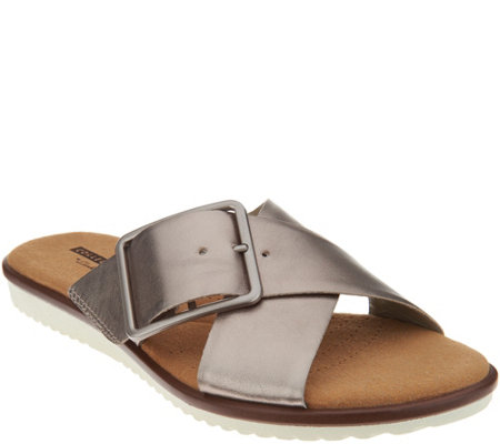 """As Is"" Clarks Leather Cross Band Buckle Slides- Kele Heather"