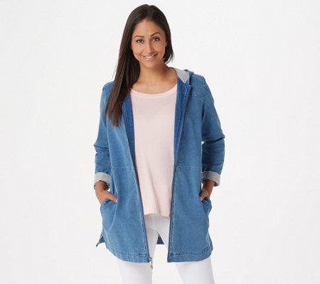 Denim Co Regular Comfy Knit Denim Zip Front Jacket