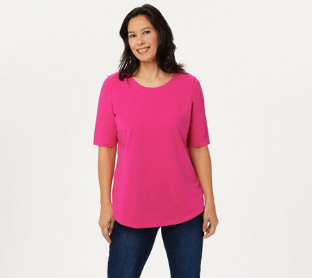 Belle By Kim Gravel Tripleluxe Knit Elbow Sleeve Top