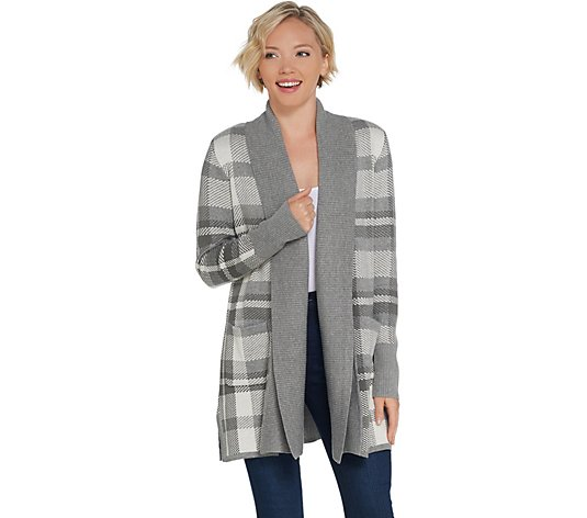 """As Is"" Isaac Mizrahi Live! Shawl Collar Plaid Jacquard Cardigan"