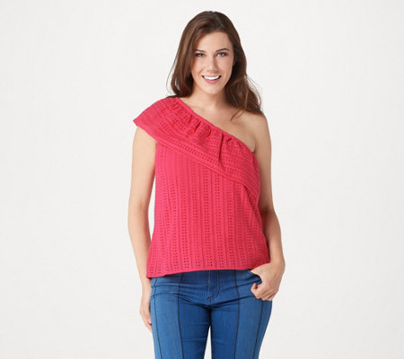 Du Jour One Shoulder Eyelet Top with Flounce Detail