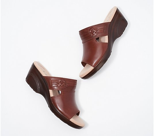"""As Is"" Clarks Collectioni Leather Wedge Slide Sandals- Lynette Trudie"