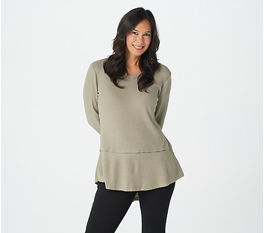 Belle by Kim Gravel V-Neck Waffle Top with Ruffle Hem