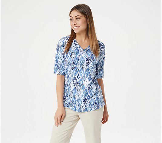 """As Is"" Denim & Co. Perfect Jersey Ikat Print V-Neck Top"