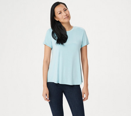 """As Is"" H by Halston Essentials Crew-Neck Top w/Shirttail Hem"
