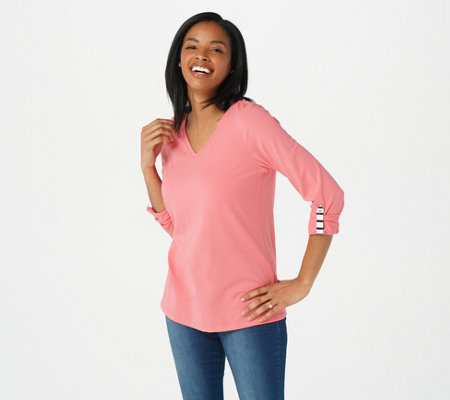 Denim & Co. Essentials Jersey V-Neck Long-Sleeve Top with Roll Tab