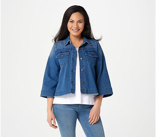 Isaac Mizrahi Live! TRUE DENIM Relaxed Swing Jean Jacket