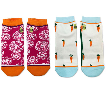 Woven Pear Buttercup, Don't Carrot All Ankle Socks - 2 Pack