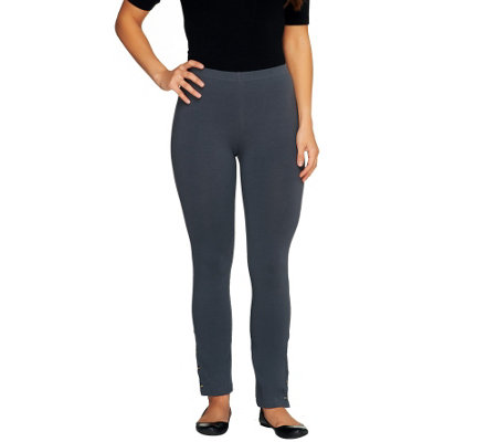 Susan Graver Weekend Stretch Cotton Ankle Leggings - Petite