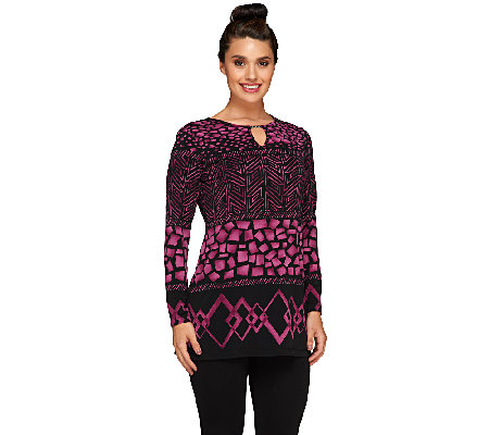 Susan Graver Printed Liquid Knit Long Sleeve Tunic w/Keyhole