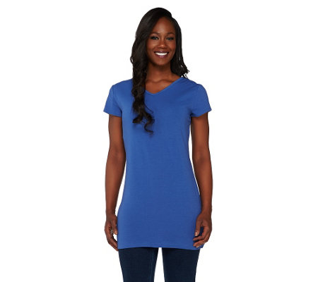 Women with Control Petite Long and Lean Reversible Neckline Top