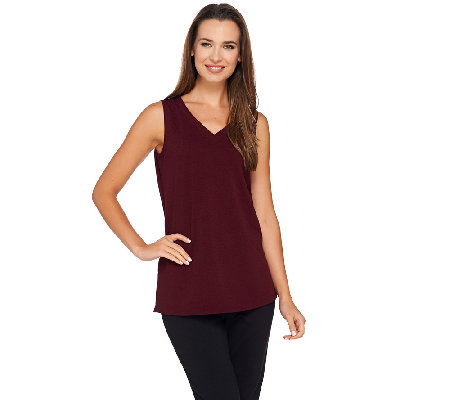 Susan Graver Passport Knit V-neck Tank