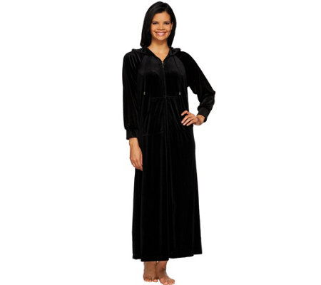 Joan Rivers Petite Length Zip Front Velour Lounger with Hood