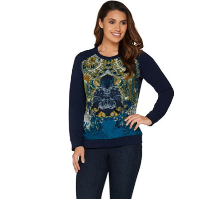 Susan Graver Weekend French Terry Top with Printed Front